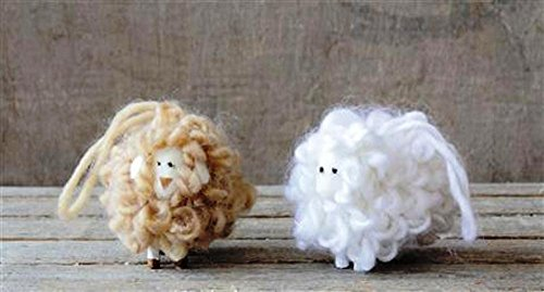 Creative Co-Op Country Christmas Wool & Foam Sheep Ornament, Set of 2