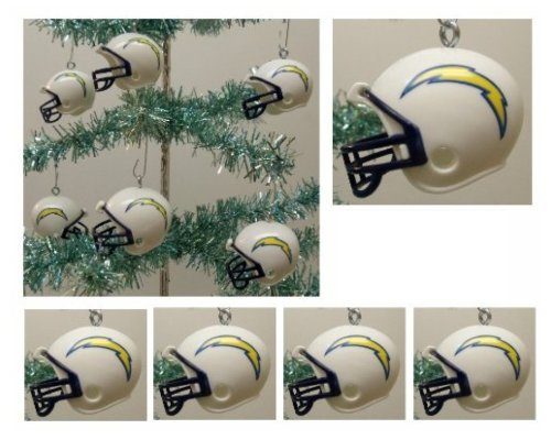 NFL Football San Diego Chargers Set of 6 Holiday Christmas Tree Ornaments Featuring Chargers Team Helmet Ornaments Ranging from 1.5″ to 2″ Tall