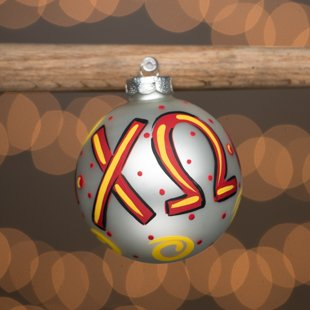 Glory Haus Large Chi Omega Glass Ornament. Comes Packaged in a Gift Box for Perfect Presentation.