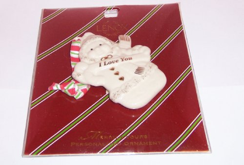 Fine China Christmas Ornament Merrily Yours I Love You Snowman Gold Accents