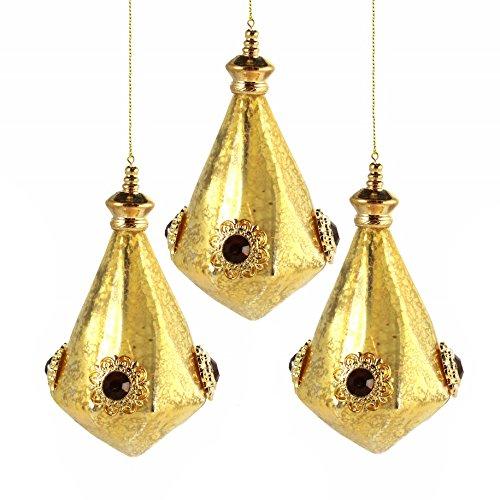Martha Stewart Collection Gold Jewel Teardrop 5″ Holiday Christmas Ornament