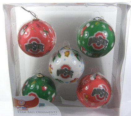 Ohio State Buckeyes 5-Pack Decoupage Ball Ornament Set