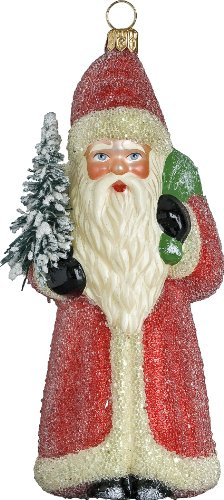 Ino Schaller Red Beaded Robe Dresden Santa Blown Glass Christmas Ornament by Joy To The World Collectibles