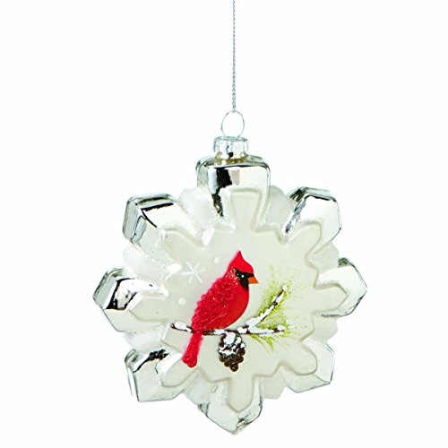 Midwest CBK Glass Snowflake With Cardinal Christmas Ornament