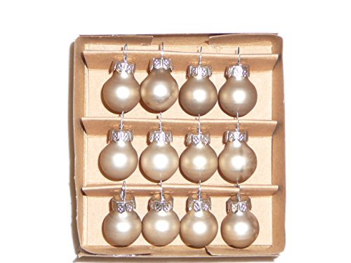 Miniature Ivory Glass Christmas Ornament Balls, 1 Dozen – 1/2 Diameter