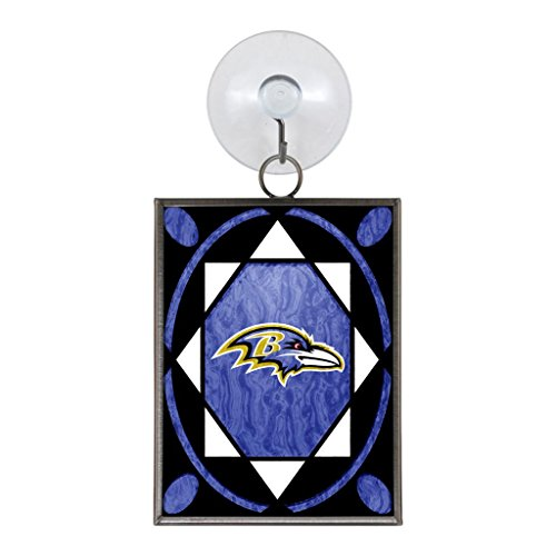 Baltimore Ravens Official NFL 2 inch x 3 inch Stained Glass Christmas Ornament