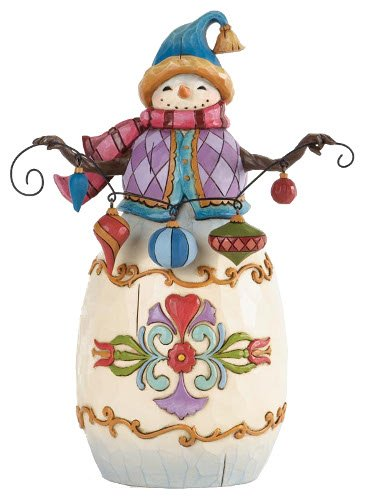 Jim Shore for Enesco Heartwood Creek Snowman with String of Ornaments Figurine, 7.5-Inch
