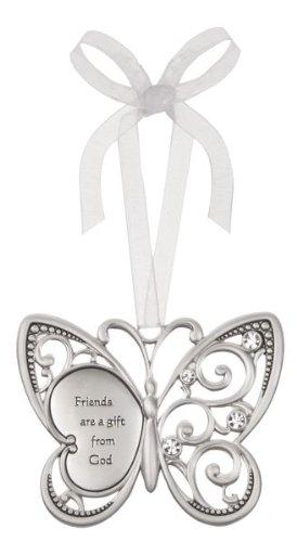 Friends Are A Gift From God Butterfly Silver & Crystal Filigree Ornament