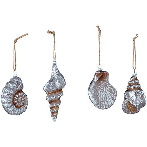 Sage & Co. XAO13840PL Glass Seashell Ornament Assortment, 8-Inch