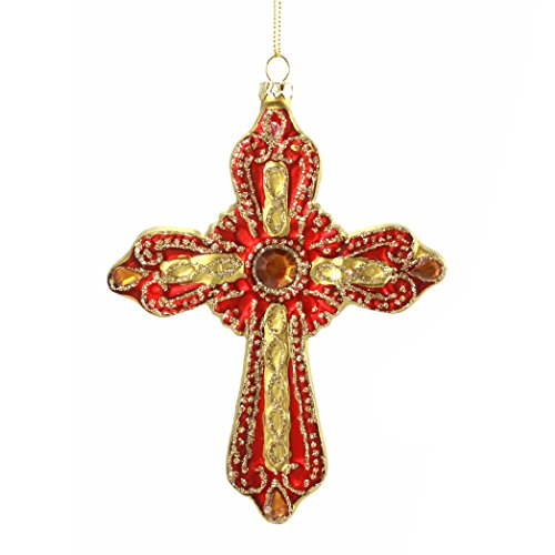 Holiday Lane Gold & Red Cross with Glitter & Jewel Accents Ornament