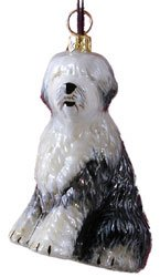 Blown Glass Old English Sheepdog Christmas Ornament
