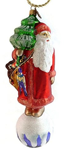 Eric Cortina Red Santa on Ball Glass Ornament – Made in Poland – 7.5″h.
