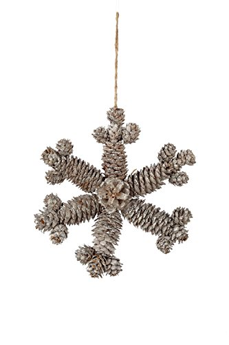 Sage & Co. XAO16584WH Pinecone and Snowflake Ornament, 8-Inch