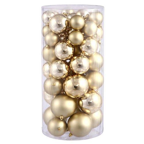 Vickerman Shiny/Matte Balls, Includes 50 Per Box, 1.5-Inch by 2-Inch, Gold