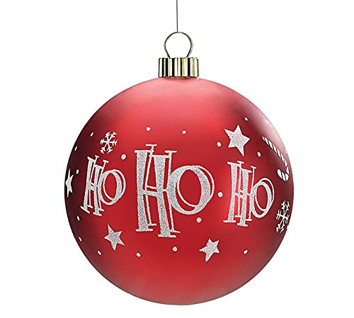 Large Glitter Ho Ho Ho Christmas Tree 6″ Ball Ornament – Xmas Holiday Novelty Hanging Decoration Accessory