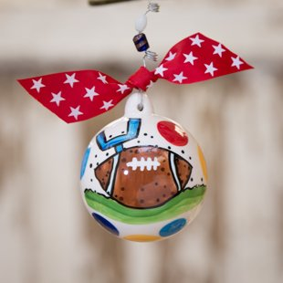 Glory Haus Football Ornament. You Will Score a Touchdown When You Give Everyone on the Team This Football Porcelain Ball Christmas Ornament. The Perfect End of the Season Gift for Everyone on the Football Team!