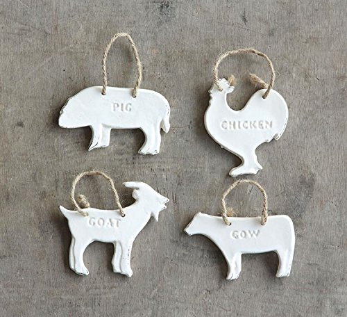 Stoneware Barn Animal Ornaments- 4.5″ Set of 4
