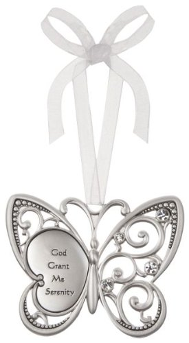 God Grant Me Serenity Butterfly Silver & Crystal Filigree Ornament