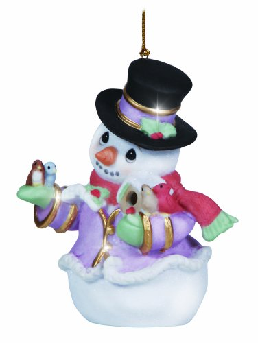 Precious Moments Annual Snowman with Birds Ornament