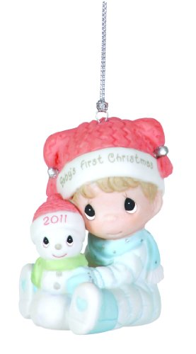 "Precious Moments , 2011 Dated Ornament ""Baby's First Christmas"" Boy"