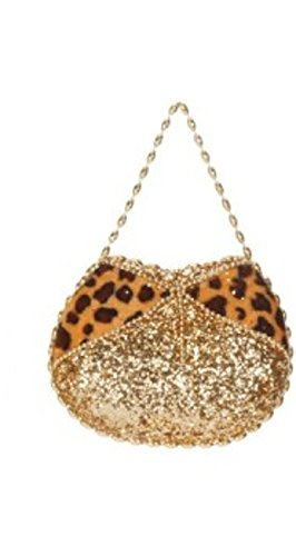 7″ Diva Safari Gold Glitter Embellished Leopard Print Evening Bag Purse Ornament