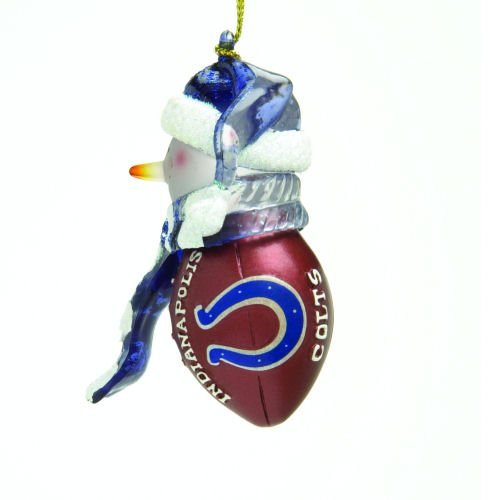 Indianapolis Colts Striped Snowman Football Christmas Ornament