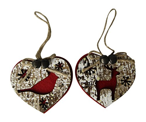 Lodge Wooden Heart with Bird and Deer Ornament By Midwest-CBK