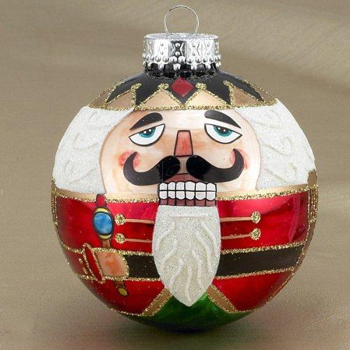 Kurt Adler Nutcracker Design Glass Ball Ornament, 80mm