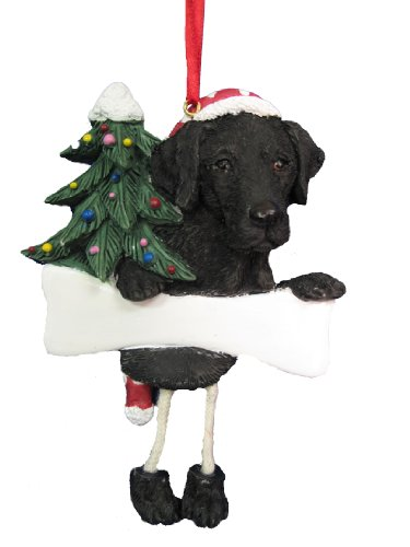 "Black Labrador Ornament with Unique ""Dangling Legs"" Hand Painted and Easily Personalized Christmas Ornament"