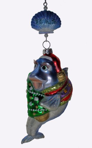 December Diamonds Handpainted Glass Tuna Fish Ornament Hangs from a Sea Shell & is is approximately 6 inches long.Blown Handpainted Fun & Comical Glass Ornament