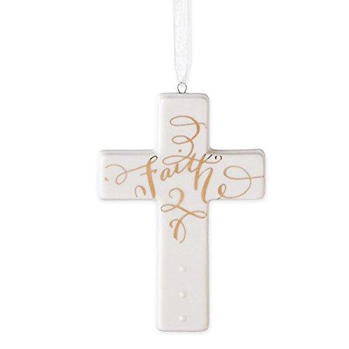Faith Cross Porcelain Hanging Christmas Ornament