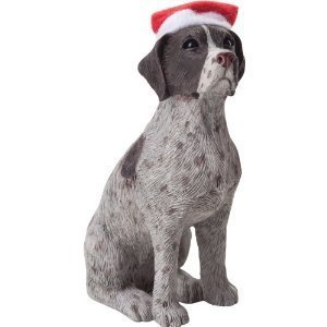 Sandicast German Shorthaired Pointer with Santa Hat Christmas Ornament