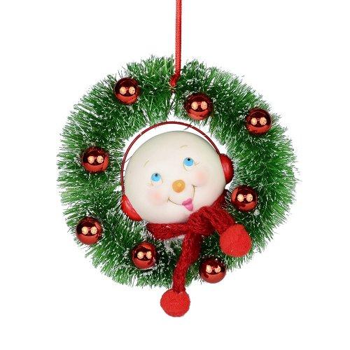 Department 56 Snowpinions Smiley Snowman Wreath Ornament, 4-Inch