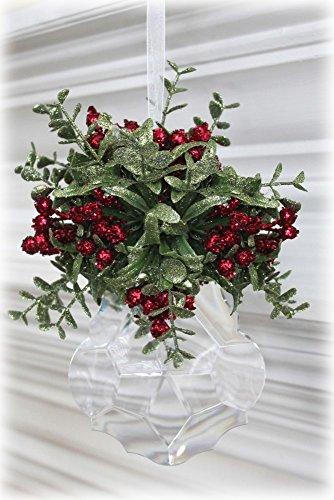 Kissing Krystal Acrylic Christmas Mistletoe Ornament w/ Hanger (Large Round – KK14 Style B)