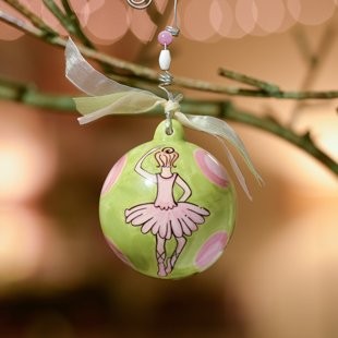 Glory Haus Ballerina Ball Ornament, Green w/ Pink Dots. Honor Your Little Ballerina with This Green and Pink Precious Porcelain Ball Christmas Ornament. Makes a Perfect Gift for Anytime of the Year!comes with a Decorative Ribbon.