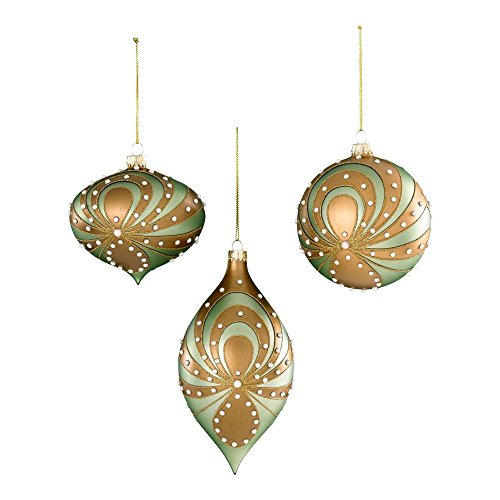 Sage & Co. XAO13766AQ Glass with Pearl Swirl Ornament