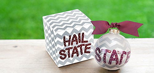 Coton Colors Mississippi State (MSU) Chevron Ornament. Any Stylish Fan Will Love This Mississippi State University Chevron Ornament… Hail State! All Collegiate Ornaments Come Boxed and Tied with a Coordinating Ribbon Making Them the Perfect Gift for Anyone.