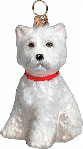 West Highland Terrier Joy to the World Glass Dog Christmas Ornament