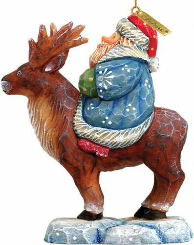 SANTA ON REINDEER CHRISTMAS ORNAMENT – G. DeBrekht Artistic Studios