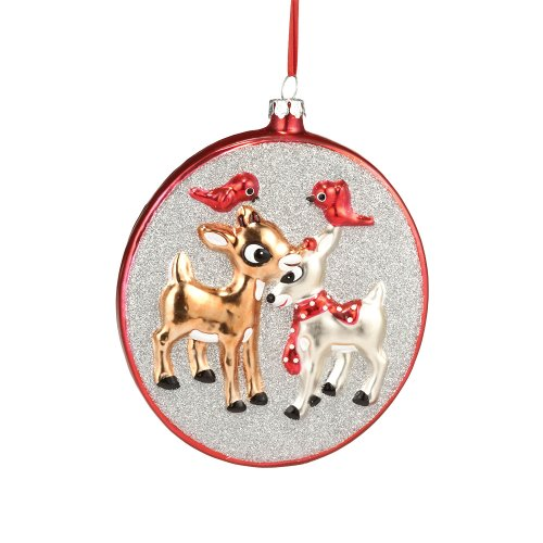Department 56 Rudolph and Clarice Glass Ornament, 4.75-Inch