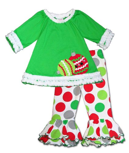 Molly & Millie by Peaches n Cream Girls 4-6x Green Christmas ORNAMENTS Pant set, 5