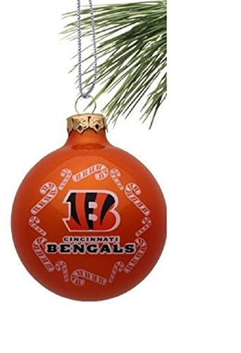 "Cincinnati Bengals NFL 2 5/8"" Painted Round Candy Cane Christmas Tree Ornament"