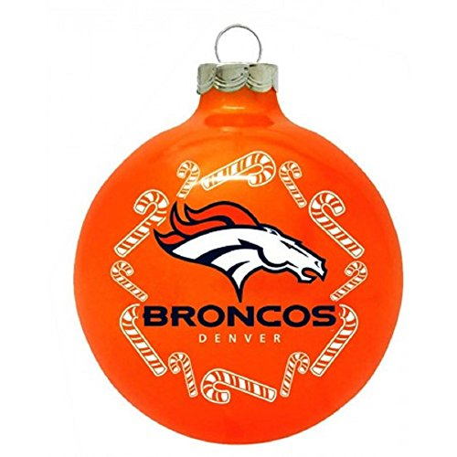 "Denver Broncos NFL 2 5/8"" Painted Round Candy Cane Christmas Tree Ornament-Orange"