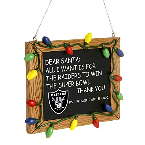Oakland Raiders Official NFL 3 inch x 4 inch Chalkboard Sign Christmas Ornament