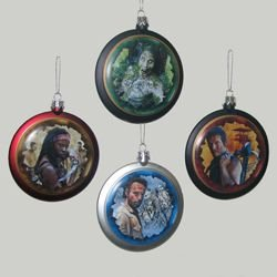 WALKING DEAD CHARACTER DISC CHRISTMAS ORNAMENT – SET OF 4