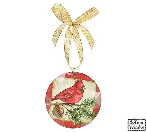 Country Cardinal Glass Crystal Christmas Tree Ornament with Gold Ribbon