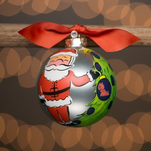 Glory Haus OLE Miss Santa Glass Ornament. Comes Packaged in a Gift Box for Perfect Presentation.