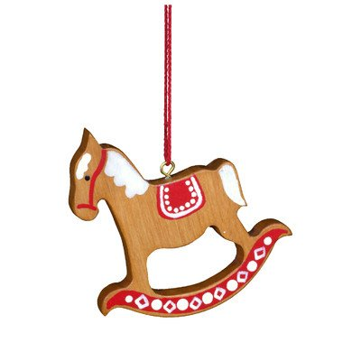 "10-0387 – Christian Ulbricht Ornament – Rocking Horse Red/Brown – 2.5″""H x 2.5″""W x .25″""D"