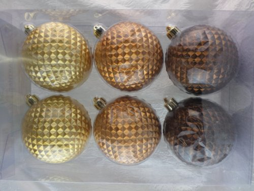 Martha Stewart Living 6 Piece Geometric Surface Shatter-resistant Ornaments