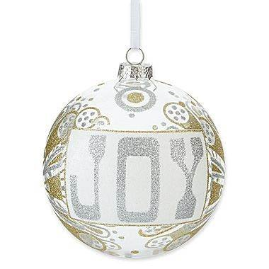 Jonathan Adler Happy Chic Big Glass JOY Hanging Christmas Ornament